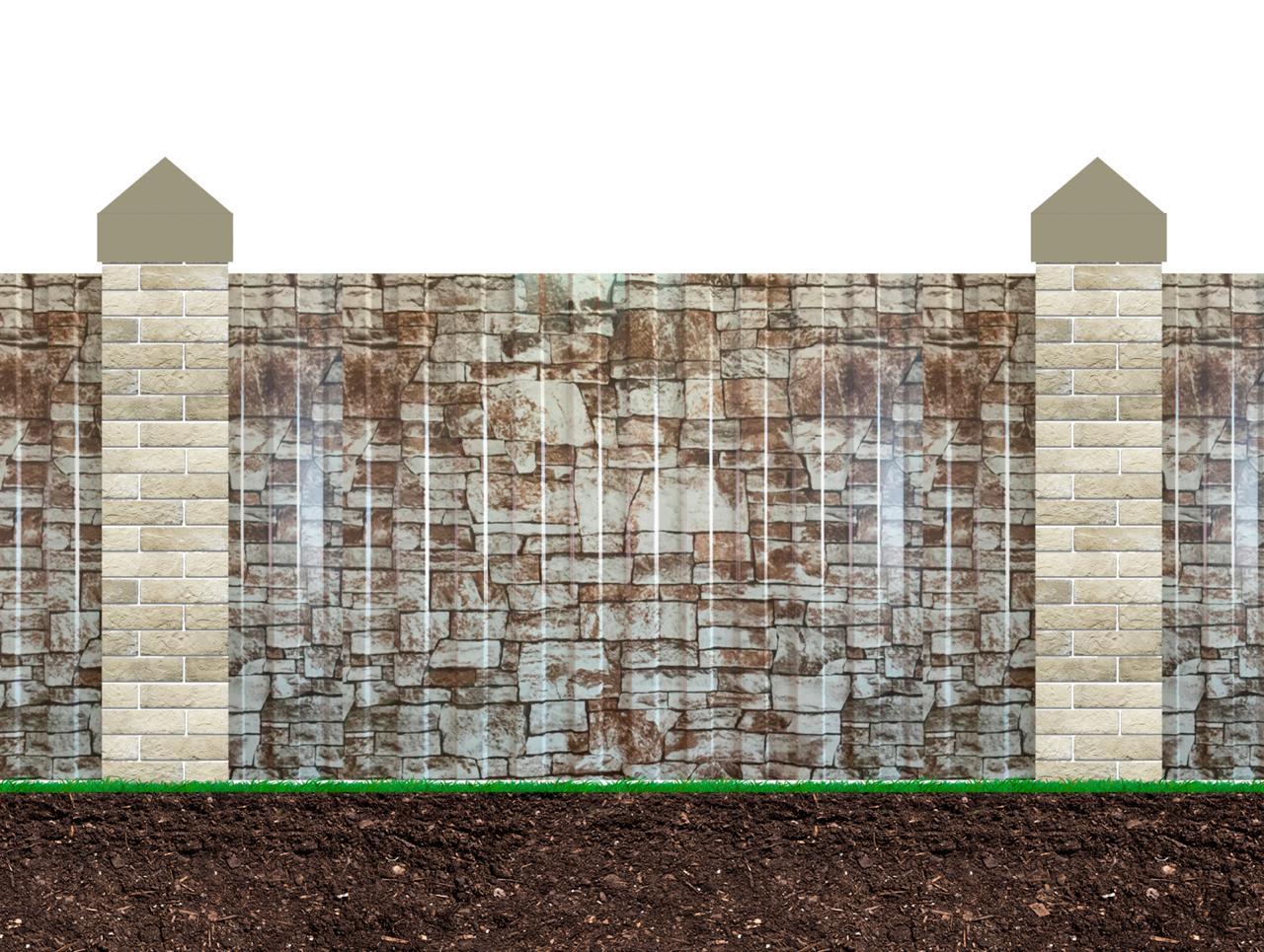 Забор под камень профнастил фото